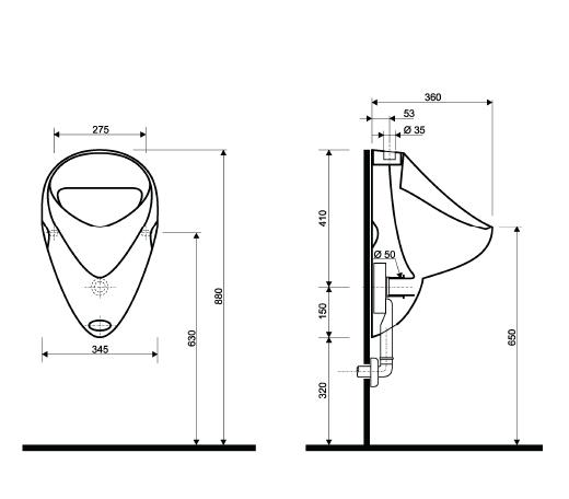 ceravid keramag gruppe design urinal set mit drucksp ler komplettset ebay. Black Bedroom Furniture Sets. Home Design Ideas